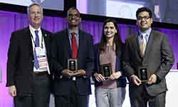 Naila Choudhary, MD, and Amit Gupta, MD, cardiovascular disease fellows at the UF College of Medicine – Jacksonville, finished second in a national Jeopardy-style competition sponsored by the American College of Cardiology. Choudhary is pictured third from the left and Gupta is on the far right. Photo credit: Lagniappe Studio