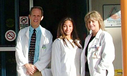 Image: Shareen Ismail, MD, center, won the Best Resident Paper award from the American College of Emergency Physicians. She was a UF fellow from 2010 to 2013. Mark McIntosh, MD, left, and Colleen Kalynych, EdD, right, were Ismail's primary mentors during the research project.