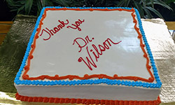 Image: An appropriately decorated cake was among the sweets and treats available during Wilson's drop-in reception.
