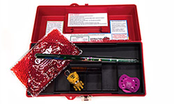Image: The PAMI distraction toolbox contains items like glitter wands filled with floating shapes, pacifiers and roaring animal keychains.