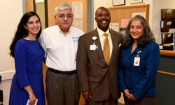 Image: (L-R) Dr. Reetu Grewal, project lead; Dr. Mobeen Rathore, UF CARES medical director; Dr. Leon Haley, dean, UF College of Medicine - Jacksonville; and Dr. Nipa Shah, chair of community health and family medicine.