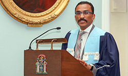 Image: Fernandes addresses new fellows during the induction ceremony in Edinburgh, Scotland.