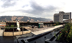 Image: Haynes marveled at the views during his two-week stay. He captured this rooftop shot of downtown Bogotá from the hospital's coffee shop.