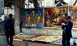 Image: Haynes had a chance to absorb some of the culture while in Bogotá. Sights included an art festival in the city's Usaquen Park, where local vendors regularly sell their goods and wares on the street.