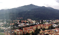 """Image: This was Haynes' view from the hotel he initially stayed in. """"Bogotá is surrounded by beautiful green mountain landscapes,"""" he said."""