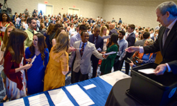Image: UF medical students learn of their future training destinations during Match Day on Friday, March 16.