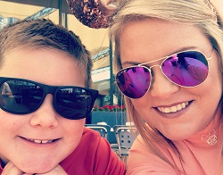 Image: Carla Collins with her 8-year-old son at Disney World.