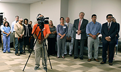 Image: UF Health personnel from Jacksonville and Gainesville were among those who attended the ribbon-cutting ceremony.