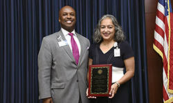 Image: Nipa Shah, MD, a professor and chair of community health and family medicine at UF COMJ, won the 2018 Robert C. Nuss Researcher/Scholar Award. She is joined by Leon L. Haley Jr., MD, MHSA, dean of the college.