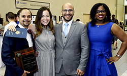 Image: Shashank Shettar, MD, at left, received one of several awards announced during Celebration of Education. Afterward, he and other graduates enjoyed the reception in the LRC atrium.