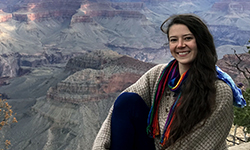 Image: Ashley Durand stops for a photo opportunity while visiting a national park.