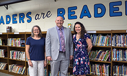 Image: Pictured from left: Babette Kissam, psychiatry research assistant, Matt Peterson, principal of Holiday Hill Elementary School, and Allison Ventura, PhD, child and adolescent psychologist.